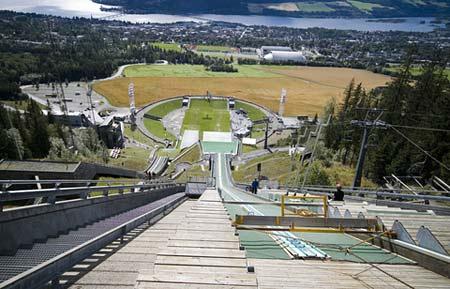 Utsikt mot Lillehammer fra hoppbakken